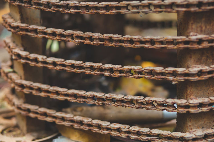 Full frame shot of rusty metal chain