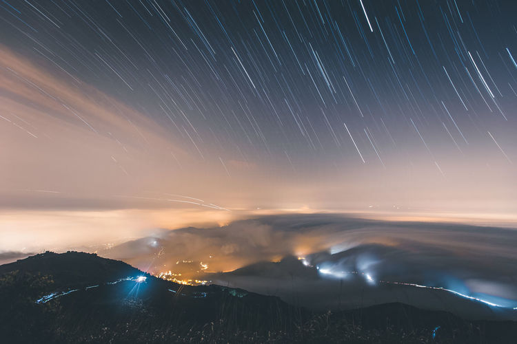Star Trails. Astronomy Astrophotography Beauty In Nature Clouds HongKong Idyllic Illuminated Landscape Landscape_photography Majestic Mountain Nature Night Night View Nightphotography Nightscape Nightsky Outdoors Scenics Sky Star Trails Stars Starscape Tranquil Scene Tranquility