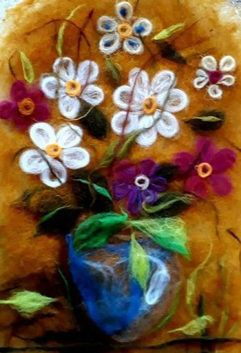 Multi Colored Flower Painted Image Art And Craft Close-up