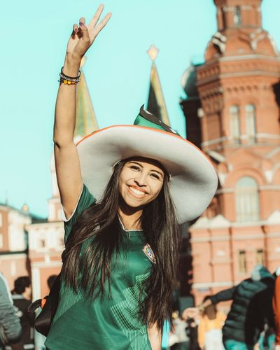 «Mexico!» 💚 Happiness Friendship Canon Россия Football Fans FIFA World Cup Russia Sports футбол Streetphotography Street Photography Mexico One Person Portrait Women Young Women Moments Of Happiness 2018 In One Photograph