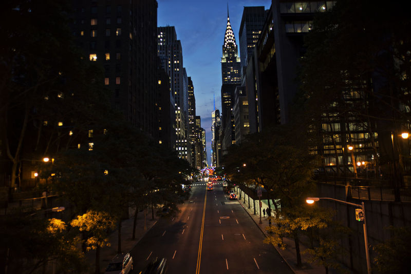 EyeEmNewHere Chrysler NYC NYC Photography NYC Street Photography Architecture Building Exterior Built Structure City Cityscape Illuminated Night No People Outdoors Photographer Road Sky Street Street Light The Way Forward Transportation Tree EyeEmNewHere