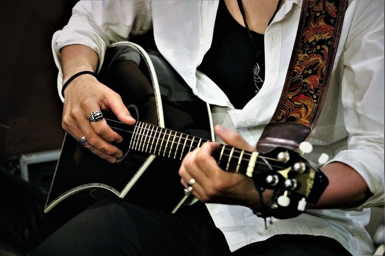 Midsection Of Man Playing Mandolin