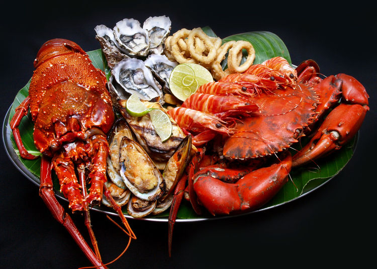 Close-up of seafood in plate against black background