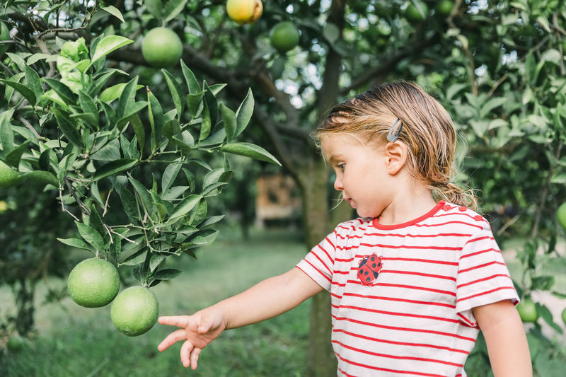 Girl standing by fruit tree in yard