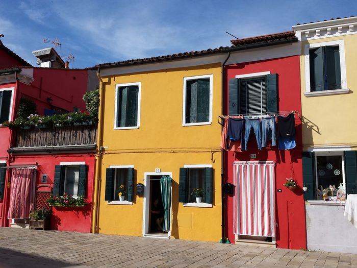 Colour Splash Colourful Houses Washing Clothes Hanging Clothes Line outside a house Ladyphotographerofthemonth Holiday Memories Venezia Städtetour Colourful Mediterranean  Beliebte Fotos Sights & Views  Popular Photos Blue Sky Background Sunny Yellow Sunny Day Pitoresque Beautiful View Holiday POV Ancient Village Travels Enjoying Life Happy Colours Colour Of Life The Street Photographer - 2017 EyeEm Awards The Architect - 2017 EyeEm Awards
