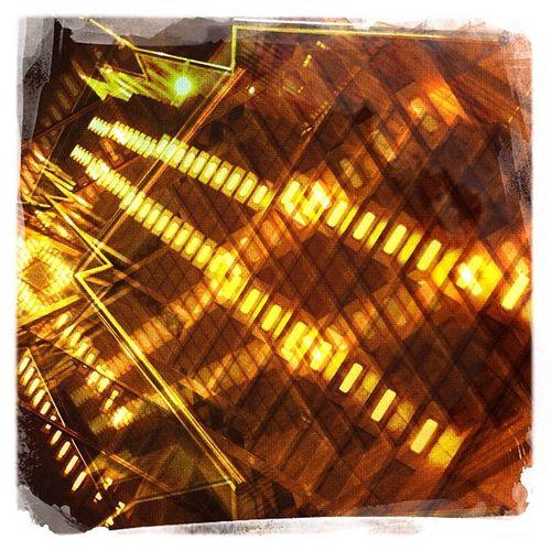 Cross Paths Night Lights Urban Stairs