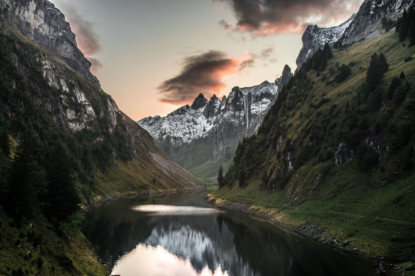 Beauty In Nature Cloud - Sky Environment Flowing Water Formation Idyllic Landscape Mountain Mountain Peak Mountain Range Nature No People Non-urban Scene Outdoors Plant Remote Scenics - Nature Sky Sunset Tranquil Scene Tranquility Tree Water