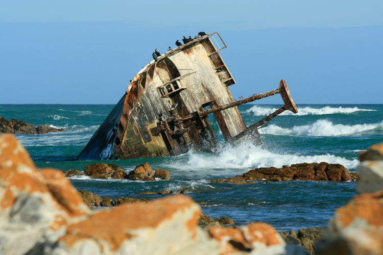 Ship wreck on the one of the South African shores 2018 In One Photograph Power In Nature Clear Sky Breaking Ruined Deterioration Outdoors No People Damaged Crash Abandoned Rock Shipwreck Sky Wave Sea Water Motion Horizon Over Water Day Horizon
