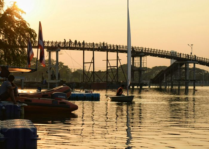 Water Sunset Sky Day Outdoors Nautical Vessel River Travel Destinations Boats⛵️ Bridge Over The River Bridgeview