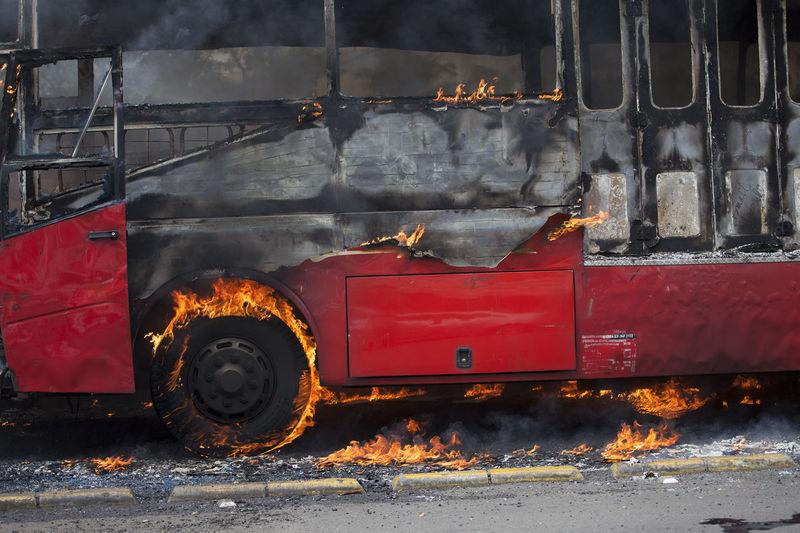 Bus Burning On Street