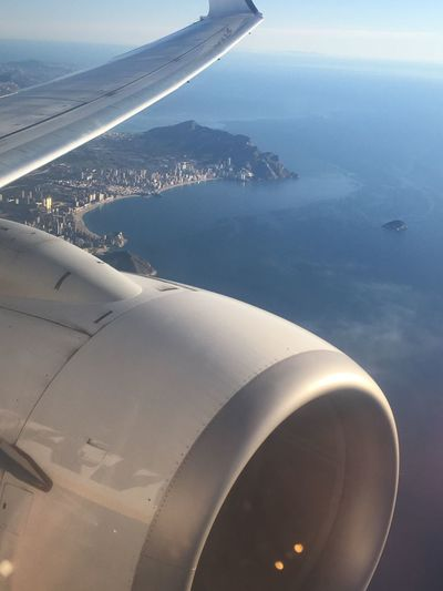 View of Benidorm from plane EyeEm Selects Benidorm SPAIN Air Vehicle Airplane Mode Of Transportation Flying Water Transportation Aircraft Wing Scenics - Nature Mid-air Outdoors Travel Landscape Jet Engine Aerial View Nature Day No People Beauty In Nature Sky Sea