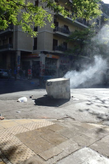 Demonstration in Athens, may 2015 Athens Demonstration May 2015 No People Outdoors Protest Smoke Street