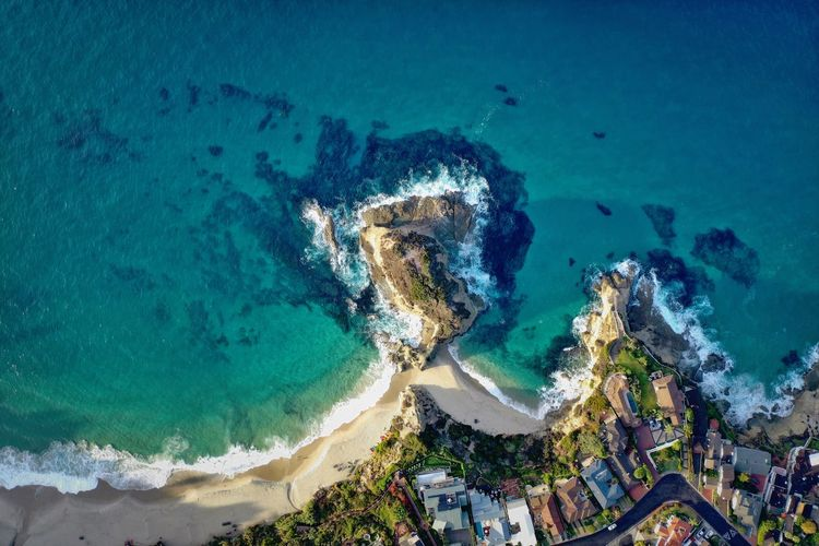 Three arch bay at sunrise. Beachphotography Water Sea Beach Nature High Angle View Outdoors Coastline Turquoise Colored Travel Destinations Bay Sunrise Dronephotography