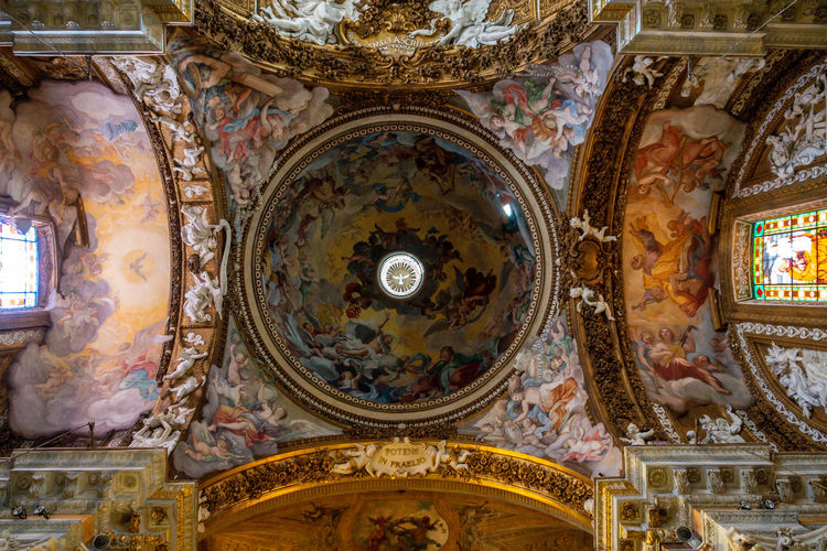 Religion Mural Belief Place Of Worship Indoors  Art And Craft Ceiling Spirituality Architecture Fresco Human Representation Representation Ornate No People Built Structure Low Angle View Creativity Dome Cupola Directly Below Altar