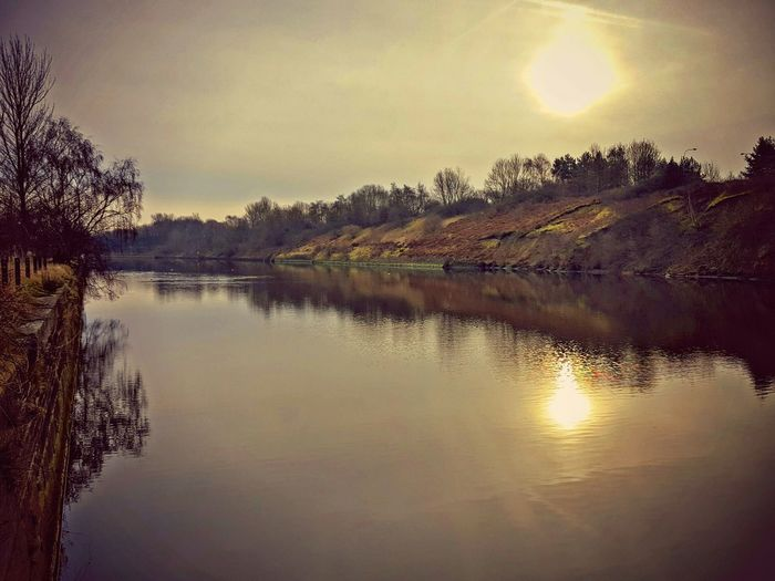 Hazy Sun Reflections Sun Reflection On Water Riverbank Sunrise Peaceful Sparkling River View Waterscape Hdr Photography