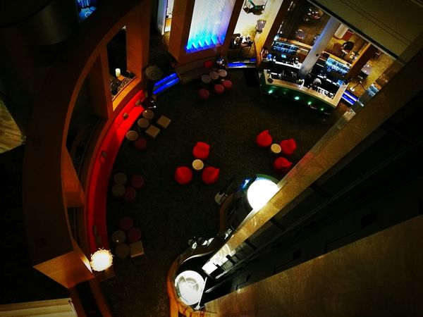 The restaurant from the fifth floor Night Illuminated No People Indoors  Singapore Restaurant High Angle View Fifth Floor Singapore Architecture Architecture