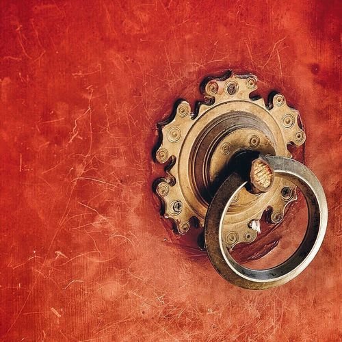 Door and knocker. Red Red Paint Door Knocker Scratch Patina Chinese Architecture Chinese Culture Asian Culture Fine Art Photography
