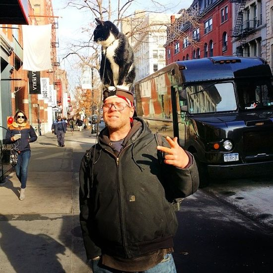 -Cat on the Hat - Nicholas the cat & Charlie with the hat People I meet on the street Soho NYC winter walking love picoftheday