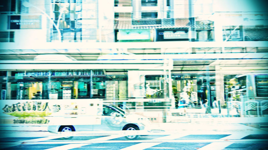 Bus running in the ancient capital As the wind As The Wind Cross Of Light Sprint Ancient City Blue Bus Stop City City Life City Street Day Kyoto City