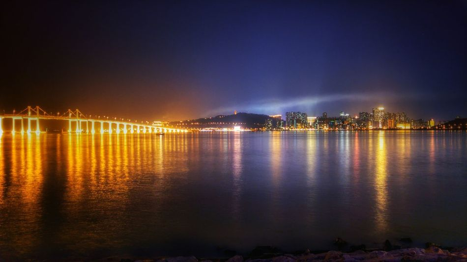 Night view of Taipa ASIA China City Glowing Macao  Macau Outdoors River Taipa  Water Waterfront