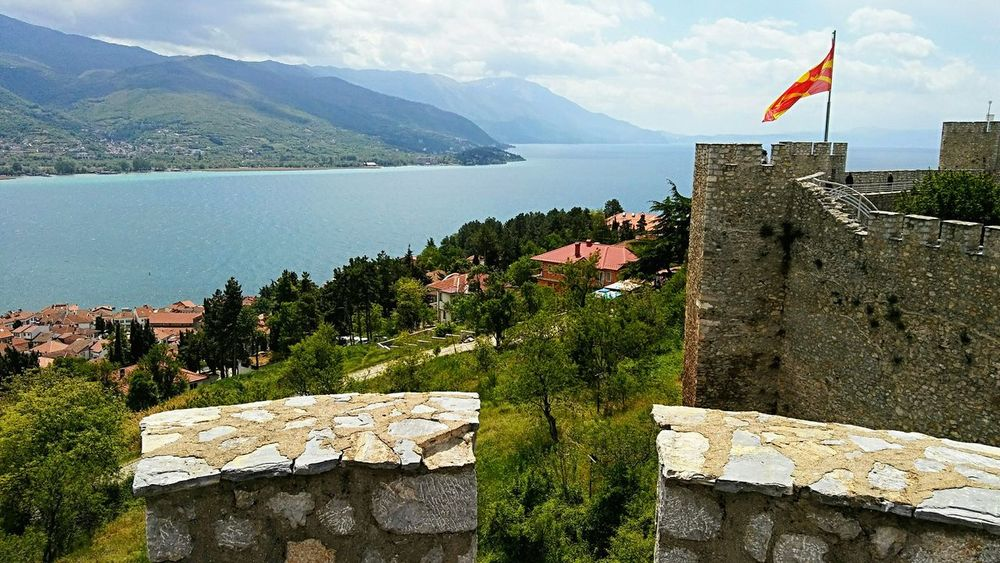 Lake,fortress and Ohrid Macedonia Fortress Fortress Wall Fortress In Europe Fortress View Fortress Of Stone Ohrid Lake Lake Lake View Lakeside Lake And Mountain And Sky Landscape Historical Place Fortress Europe No People Outdoors Day Mountain Flag Architecture History Sky Built Structure