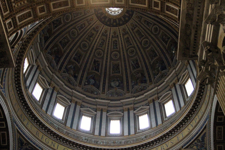 St. Peters Basilica Arch Architectural Feature Architecture Architecture And Art Belief Built Structure Ceiling Cupola Day Directly Below Dome History Indoors  Low Angle View No People Ornate Pattern Place Of Worship Religion Spirituality The Past Travel Travel Destinations