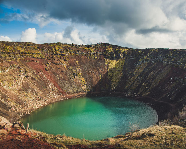 Kerid Crater Water Cloud - Sky Scenics - Nature Sky Beauty In Nature Tranquil Scene Rock Mountain Tranquility Non-urban Scene Rock - Object Lake Nature Solid No People Day Idyllic Landscape Environment Turquoise Colored Outdoors Volcanic Crater Formation Lagoon Iceland