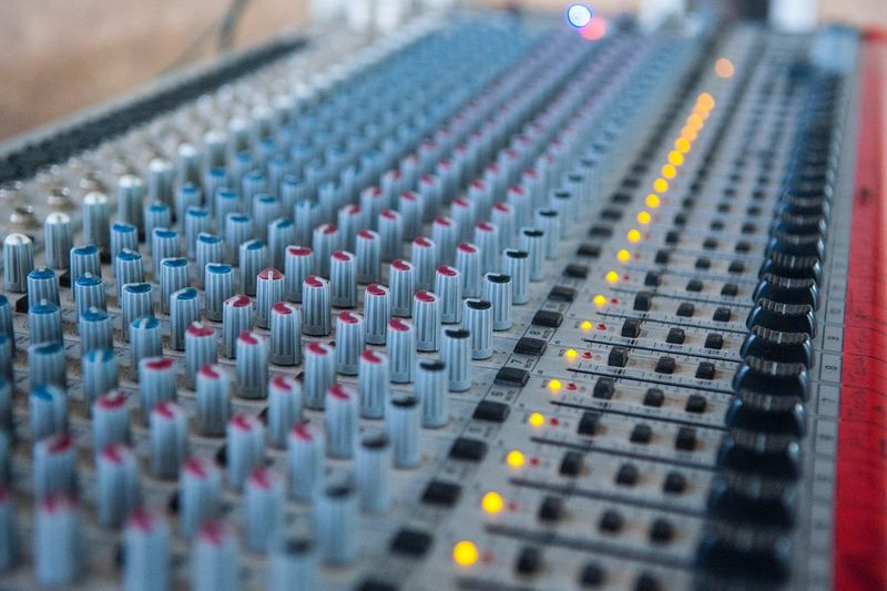 Selective Focus Close-up Indoors  Music Sound Recording Equipment Technology No People Communication Control Audio Equipment Full Frame Sound Mixer Recording Studio Equipment Arts Culture And Entertainment Multi Colored Industry Control Panel Textile Studio