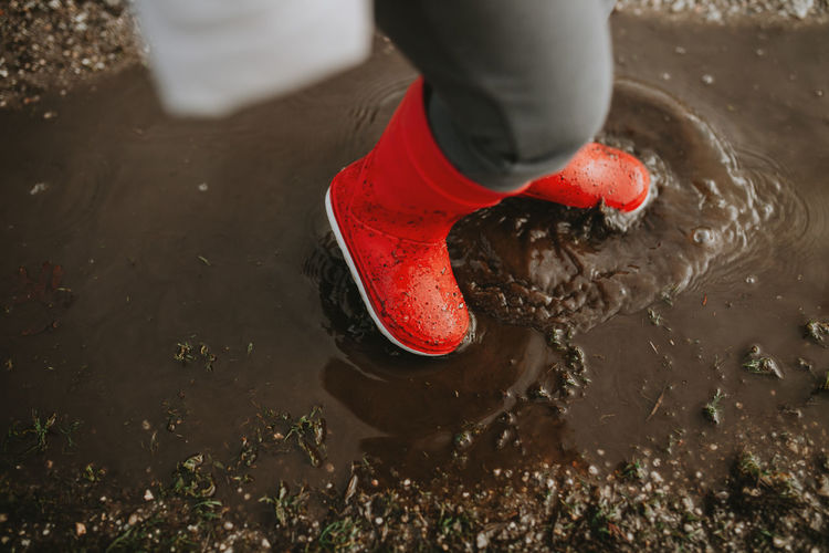 Low section of child with red rubber boots in water