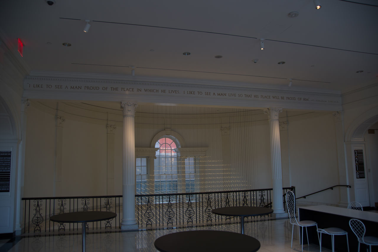 architecture, indoors, architectural column, arch, no people, built structure, government, day, courtroom