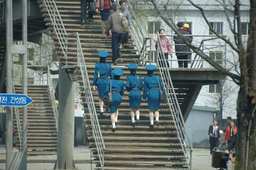 North Korea Police Woman Police Pedestrians Walk This Way