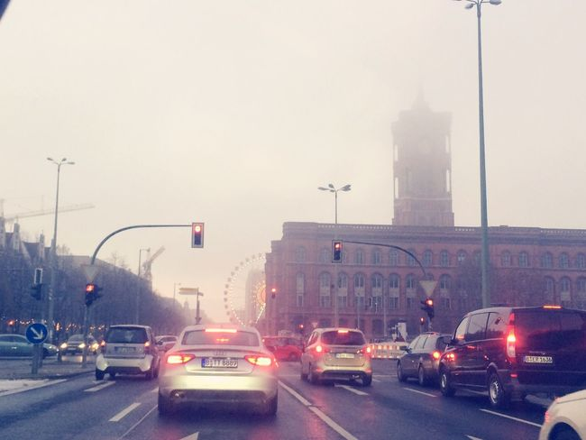 Car Transportation Land Vehicle City Traffic Street Outdoors Smog In The Sky Winter Berlin Alexanderplatz Cityscape