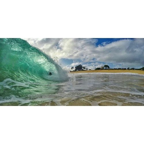 One in the hole. . . 808  Sandys Shorebreak Iwouldtoo surf_shots wavesofaloha waterandlight luckywelivehawaii wearehawaii aloha