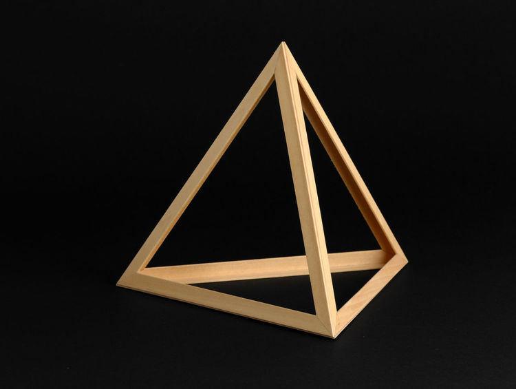 Three dimensional geometric wooden triangular frame isolated on a black background 3D Mathematical Shape Spatial Background Black Black Background Dimensional Frame Geometric Geometry Studio Shot Triangle Triangle Shape Triangular Wooden