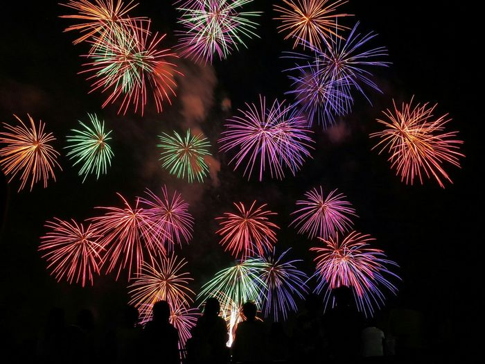 Silhouette people against colorful firework exploding in sky