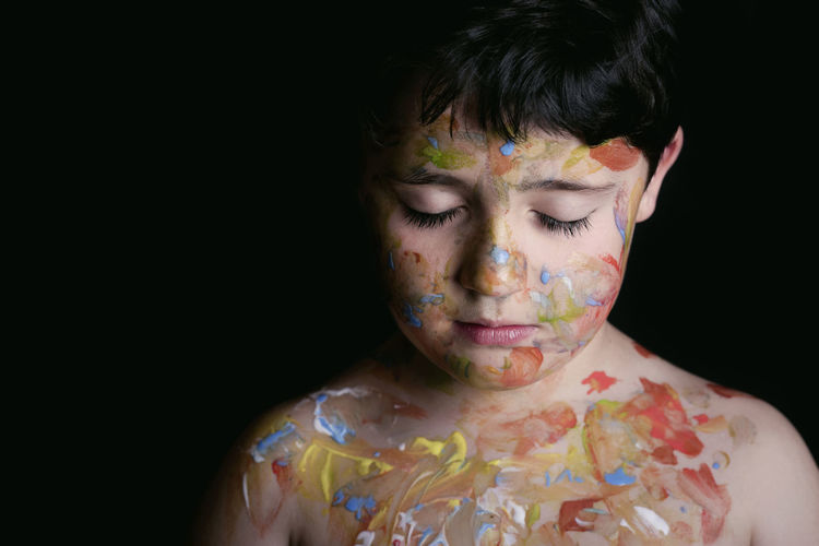 Black Background Carnival Colors Dream Dreaming Freedom Fun Happiness Happy Innocence Lifestyle Makeup Painted Black Background Body Arts Child Childhood Close-up Creative Face Headshot Multi Colored One Person Painting Watercolor