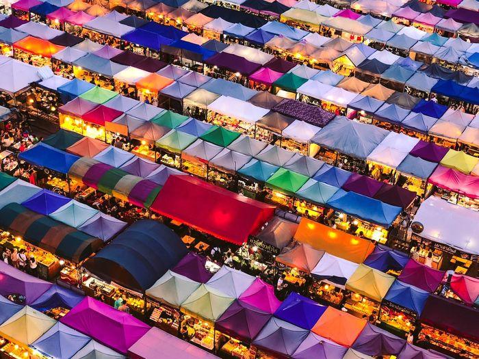 High angle view of illuminated market