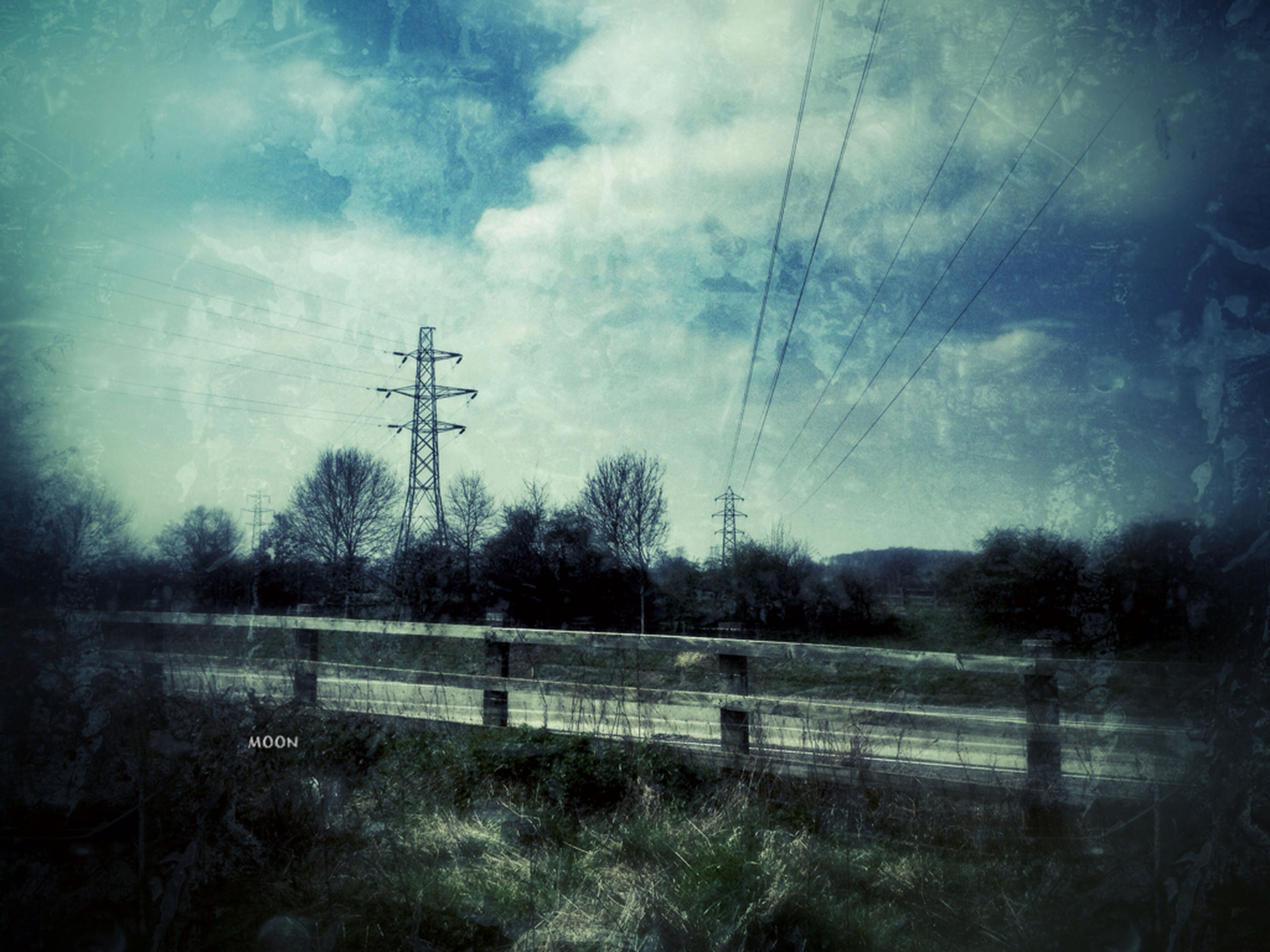 electricity pylon, power line, sky, electricity, tree, field, landscape, fuel and power generation, power supply, tranquility, tranquil scene, cloud - sky, connection, nature, cable, scenics, technology, rural scene, beauty in nature, cloudy
