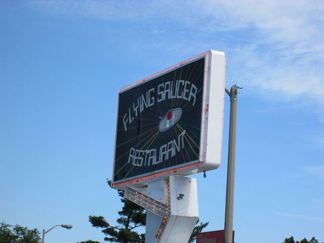 Breakfast Canada Communication Day Flying Saucer Low Angle View No People Outdoors Sign Sky Text