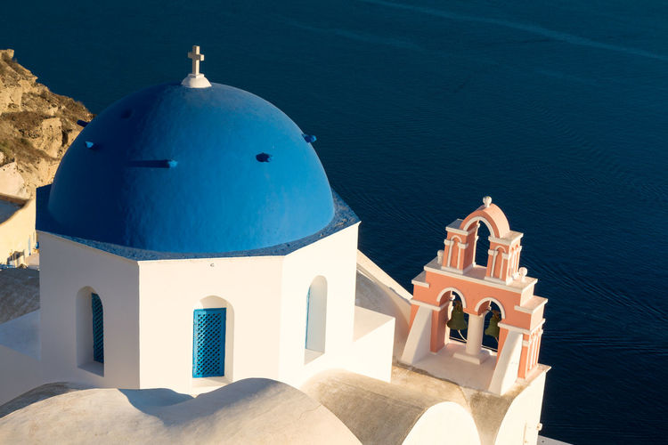 High angle view of church by sea