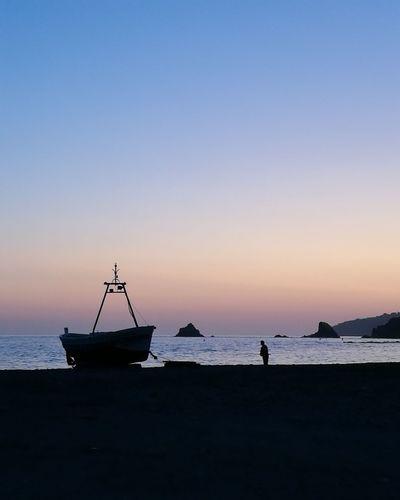 Almuñécar, Granada, Spain Silhouette Sea Horizon Over Water Beach Sunset Tranquility Sky Water Clear Sky