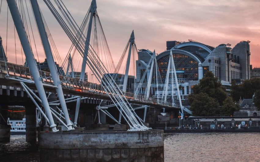 Architecture Bridge - Man Made Structure Built Structure Sky Building Exterior Outdoors City River Water Sunset Transportation No People Travel Destinations Nautical Vessel Harbor Day Nature Cityscape