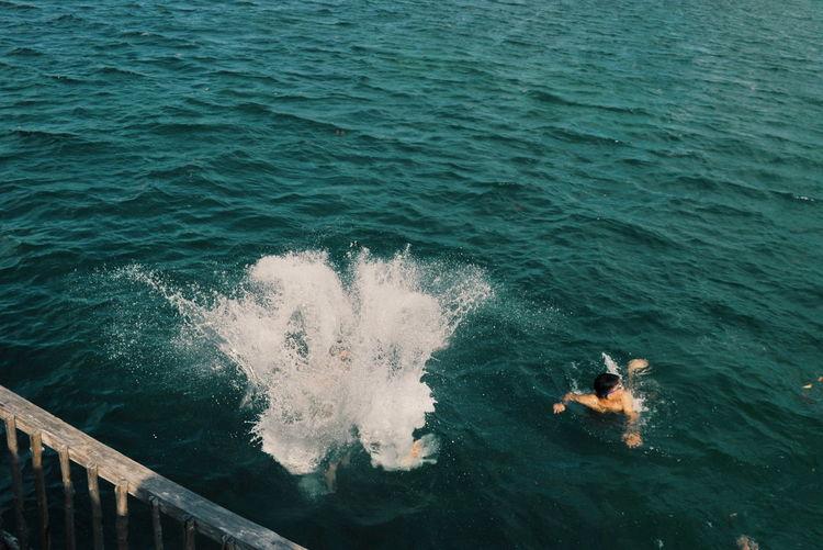High Speed Illustration EyeEm Selects EyeEmBestPics Mood Water Sea Wave Men Motion Swimming High Angle View Wake - Water
