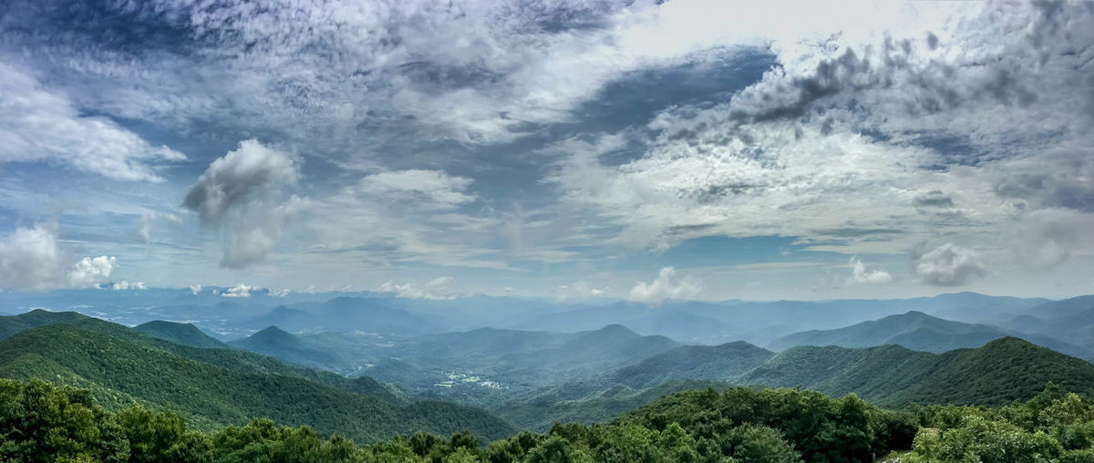 Brasstown Bald Panorama Beauty In Nature Cloud Cloud - Sky Cloudy Day Green Color Hill Idyllic Landscape Majestic Mountain Mountain Range Nature No People Non Urban Scene Non-urban Scene Outdoors Remote Scenics Sky Tranquil Scene Tranquility Tree Valley Weather