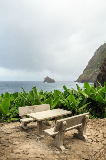 Madeira Island São Jorge Beach Beauty In Nature Chair Day Horizon Over Water Nature No People Outdoors Picnic Table Sand Scenics Sea Sky Table Tranquil Scene Tranquility Vacations Water
