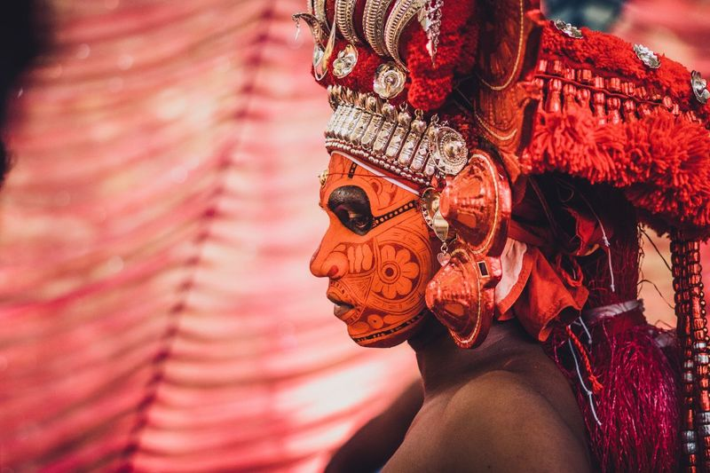 Theyyam of Kannur - Kerala / India India Indiapictures Portrait Portrait Photography Incredible India Theyyams Of Kannur Portraiture Kerala India Kerala Theyyam Portraits Kannur Keralatourism Sacred Portrait Of A Man  Incredibleindia Travelphotography Travel Photography Kerala The Gods Own Country ;) Keralatourism Travel Destinations One Person Close-up Women Human Body Part Adult Real People Clothing Jewelry Traditional Clothing