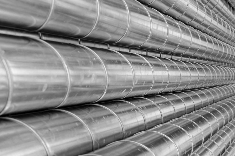 Metal Metal Industry Aluminum Pipes Industry Industrial Black And White Business Finance And Industry Products Man Made Structure Pattern Reflections Business Tubes Backgrounds No People Pipe - Tube Close-up Full Frame Steel Factory Alloy Technology Large Group Of Objects In A Row Silver Colored Machinery Indoors  Shiny Iron - Metal