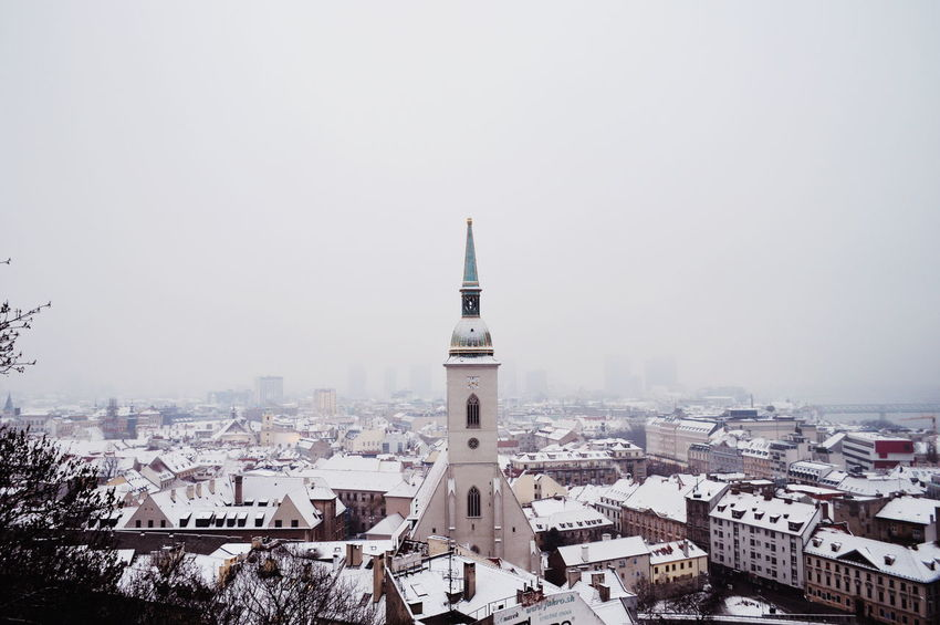Cathedral Architecture City Cityscape Urban Skyline Snow Cold Temperature Winter Skyscraper Clock Tower Clock Aerial View Foggy Panoramic Weather Snow Covered Historic TOWNSCAPE Tower Frozen Calm