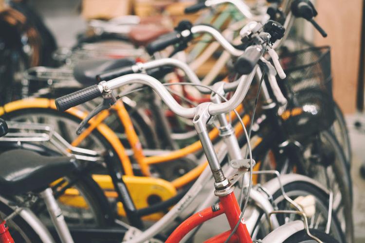 Vintage bicycles full frame shot