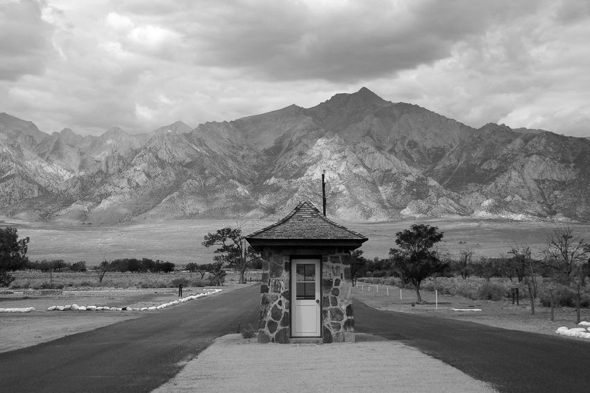Black & White Internment Camp Manzanar History Built Structure No People Abandoned Mountain Guard House Japanese